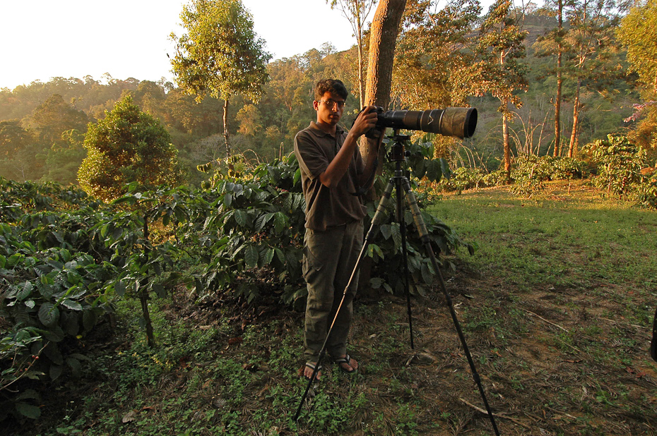 Documenting wildlife in a coffee estate in Anamalais.