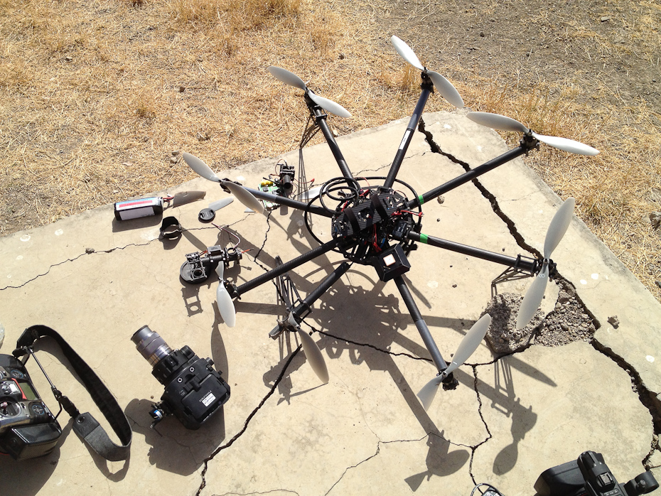 A crash-landed Cinestar8 chopper. We tried to get some aerial footage with this, and it did work before it crashed.